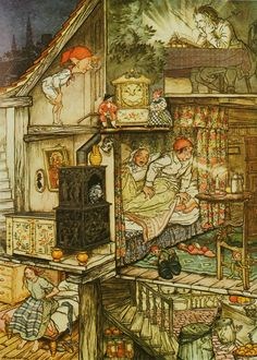 """When night was come and the shop shut up."" Illustration by Arthur Rackham (English, 1867-1939) for 'Fairy Tales by Hans Andersen', George G. Harrap & Co., 1932."