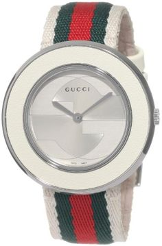 9db1dd86983 Amazon.com  Gucci U-Play Medium Stainless Steel Watch with Tricolored Nylon  Somen s Strap(Model YA129411)  Watches