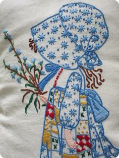 Must pin this - I loved Holly Hobbie when I was little! Books, lunch box, paper dolls, colorforms, night gown, quilt, rag doll, had them all - but not an embroidered Holly Hobbie!