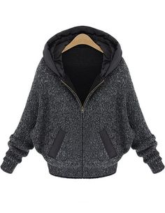 Dark Grey Batwing Sleeve Hood Sweater Coat