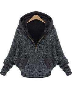 Dark Grey Batwing Sleeve Hood Sweater Coat - Sheinside.com