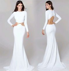 Vestidos blancos largos de manga larga