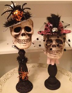Pretty in Pink Skull Halloween Decoration by JeanKnee on Etsy, $20.00
