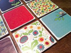 Home made coasters    4X4 Tiles (Home Depot or Lowes) $0.16 ea  Scrapbook paper $5.99/book  Mod Podge  Felt (I had 3 squares of coordinating colors, using about half of each square) $0.32 ea  Clear Coat Spray Paint (optional, but I like a heavy duty seal)