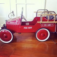 SALE Vintage Fire Truck Pedal Car by fritzandellie on Etsy, $165.00