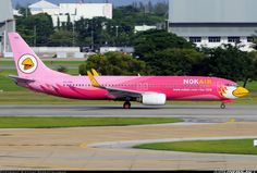 Nok Air Boeing 737-83N (HS-DBE)  Bangkok Intl - Don Muang |DMK| (apparently there have been a good many pink-for-breast-cancer planes over the years, although I'm not sure if this is one of them!)