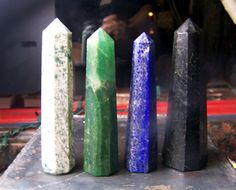 Stone obelisk polished point - Tree Agate, Green Aventurine, Lapis Luzuli, or Obsidian your choice - large point 3 .5 to 4 inches long tall