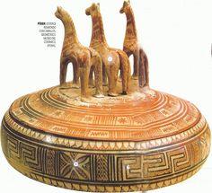 Art Pintura. siglo VIII aC Pixide o joyero con caballos Estilo geometrico Museo Ceramico Atenas