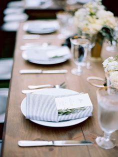 Find Me Friday : Four Long Beautiful Tables - La Tavola Fine Linen Wedding Linens, Wedding Napkins, Seersucker Wedding, Fresco, Redwood Wedding, Wedding Table Settings, Wedding Tables, Tent Wedding, Place Settings