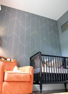 Yellow & Gray Nursery Arrow Wall -Complete2 Sharpie paint pen stencil wall