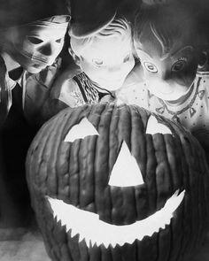 Vintage Halloween Photo ~ Children Dressed in Masks with their Jack O' Lantern, circa 1953.