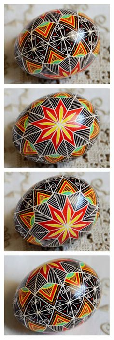 Ukranian Ukrainian Easter Egg...I made several of these eggs (not nearly as complex and gorgeous as the ones pictured here) at a Clergywomen's Retreat in Vermont.  Both broke before the egg inside the shell solidified or disappeared...whatever happens to the raw egg inside the shell!