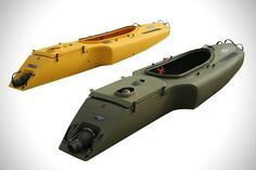   Mokai Motorized Kayak   Modular for easy storage and designed with top quality polyethylene is almost indestructible. Every boat is hand designed in New York and comes with removable 4 –stroke Subaru engine which acts as a propeller to help you pass through river, lakes and oceans. It has a speed of 17miles per hour in the water.
