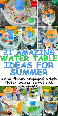 21 Amazing Water Table Ideas for Summer – HAPPY TODDLER PLAYTIME 21 Amazing Water Table Ideas to keep your toddler (or preschooler!) entertained and engaged with their water table all summer long! Summer Activities for Kids Toddler Learning Activities, Summer Activities For Kids, Sensory Activities, Infant Activities, Summer Kids, Outdoor Toddler Activities, Sensory Play, Summer Games, Water Play Activities