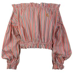 Vivienne Westwood Anglomania Striped Off The Shoulder Blouse ($390) ❤ liked on Polyvore featuring tops, blouses, momma, off-the-shoulder blouses, ruffle blouse, striped off-shoulder tops, off the shoulder tops and off shoulder blouse
