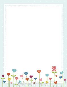 Printable heart flower border. Use the border in Microsoft Word or other programs for creating flyers, invitations, and other printables. Free GIF, JPG, PDF, and PNG downloads at http://pageborders.org/download/heart-flower-border/