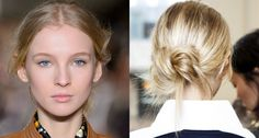 Tory Burch f/w 2017:  Apply texturizing spray liberally to clean hair. Wrap a low ponytail around itself and pin down. If ends are falling out its fine, the bun should look easy and pulled apart.