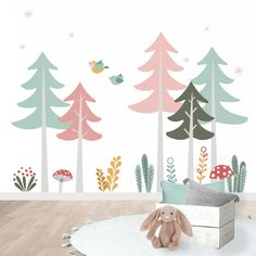Kids Bedroom Designs, Kids Room Design, Mural Art, Wall Murals, Baby Room Decor, Wall Decor, Diy Bebe, Interior Inspiration, Nursery