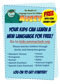 Your kids can learn a new language through games and stories...they'll be having so much fun, they won't even realize they are learning! Check out Muzzy on kids.emmaclark.org! #Free #LearningtheFunWay