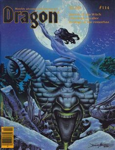 """Spirit of the Night"" by David Martin, cover of Dragon magazine No. 114, TSR, October 1986."
