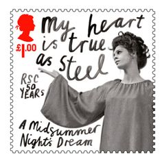 Royal Mail postage stamp celebrating 50 years of the RSC (Royal Shakespeare Company). This stamp is for the play A midsummer Night's Dream Uk Stamps, Postage Stamps, Royal Shakespeare Company, William Shakespeare, Theater, Going Postal, The Allure, Midsummer Nights Dream, Creative Advertising
