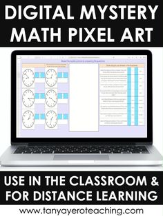 Digital Math Pixel Arts are the perfect 3rd grade math review activity! These interactive activities are ready to go for Google Excel that review a specific math skill. As your students correctly answer questions a mystery picture will start to reveal. Auto-grading math activities will make your life easier! Use these digital elementary activities for in person teaching and/or distance learning. This digital pixel activity reviews telling time.