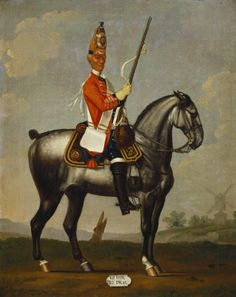 David Morier (1705?-70) Private, 2nd Royal North British Dragoons, 1751  c. 1751-60  Oil on canvas | 50.9 x 40.8 cm (support, canvas/panel/str external) | RCIN 405603