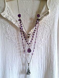 buddha at peace- amethyst triple strand silver pendant huge purple amethyst gemstone beaded necklace sundance style boho thai heart long by sweetassjewelry on Etsy
