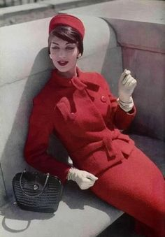 1957 Jean Patou | I wish we still dressed like this. I want this outfit, pillbox hat and all! -AM