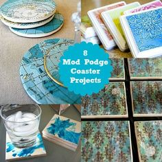 "8 Mod Podge DIY Coaster Projects - Hip, Hip, Hurrah!  This lady is the ""queen"" of Mod Podge and she does offer the gentle reminder at the beginning to use an outdoor sealer to make them waterproof (since you are all probably tired of ""hearing"" me repeatin"