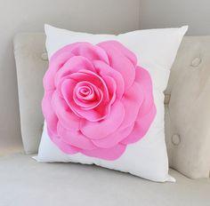 Coussin rose vif, Rose oreiller, taies d'oreiller décoratif rose, rose et blanc, canapé coussins, oreillers Chic minables, rose Home Decor