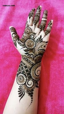 Mehndi henna designs are searchable by Pakistani women and girls. Women, girls and also kids apply henna on their hands, feet and also on neck to look more gorgeous and traditional. Henna Hand Designs, Mehndi Designs Finger, Latest Bridal Mehndi Designs, Simple Arabic Mehndi Designs, Full Hand Mehndi Designs, Wedding Mehndi Designs, Latest Mehndi Designs, Tattoo Designs, Floral Henna Designs