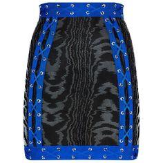 Balmain Cross Lace Skirt (10.245 HRK) ❤ liked on Polyvore featuring skirts, mini skirts, short mini skirts, zebra print skirt, lacy skirt, print skirt and lace miniskirt