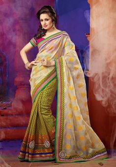 USD 81.37 Cream and Yellow Silk Wedding Saree  31837