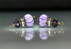 2 Purple and White Polymer Clay Bead Dangles or Earrings-Handmade Bead Dangles 9x6mm Rondelle Handmade Polymer Clay Beads by goldcountrydangles on Etsy
