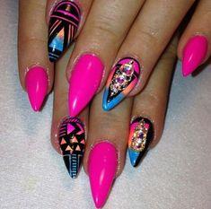# Neon Pink Nails by Tonika Marie Fabulous Nails, Gorgeous Nails, Pretty Nails, Acrylic Nail Designs, Nail Art Designs, Acrylic Nails, Nail Gel, Nails Design, Nails Only