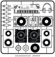 stock vector : DJ's Music Elements Vector
