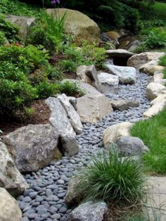 Front Yard Garden Design 73 Lovely Rain Garden You Should Have In Your Home Front yard River Rock Landscaping, Landscaping With Rocks, Front Yard Landscaping, Landscaping Ideas, Hillside Landscaping, Dry Riverbed Landscaping, Outdoor Landscaping, Landscape Plans, Landscape Design