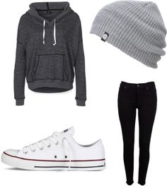 Converse outfit by matilyn ❤ liked on Polyvore. This is too cute for words like I would wear this on a lazy day.