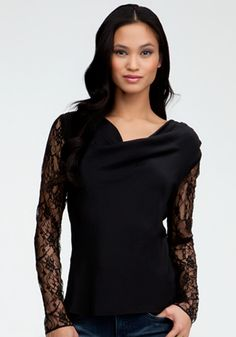 Lace Back Cowl Neck Silk Top
