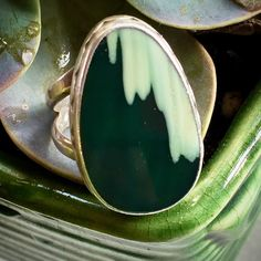 Vintage Artisan Made Sterling Silver and Imperial Green Jasper Unisex Ring... Size 7  sugardrawers.etsy.com