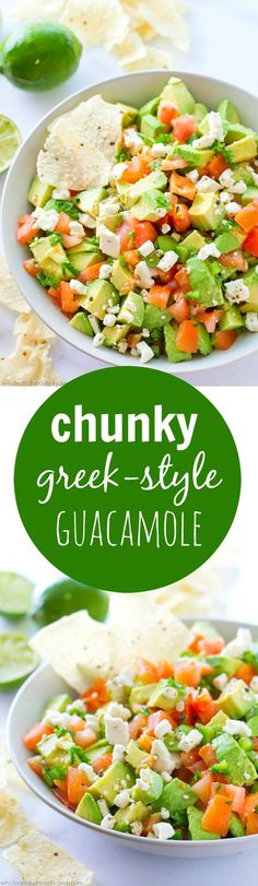 Unbelievably fresh-tasting and loaded with a plethora of flavorful greek ingredients, this easy greek-style guacamole recipe will quickly become your gotta-have summer appetizer!
