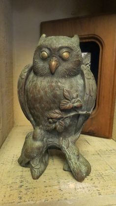 Antique Museum quality Victorian Bronze Owl w/   Bird  1800s era
