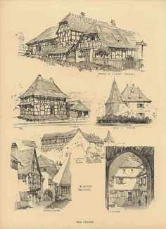 Samuel Chamberlain (1895-1975-American) - DARF - Plate 38 - Alsatian Sketches… Environment Sketch, Environment Design, Chateau Medieval, Medieval Fantasy, Level Design, Theatrical Scenery, Medieval Houses, Architecture Drawings, Urban Sketching