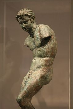 Bronze Greek Satyr, Hellenistic mid-3rd to 2nd century B.C. He appears in the midst of a dance and may have held instruments in his hands.