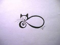 Picture Tattoos: A Modern Body Art Tatoo Art, Body Art Tattoos, New Tattoos, Small Tattoos, Arm Tattoo, Modern Body Art, Cat Tattoo Designs, Cat Silhouette, Cat Drawing