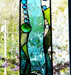 Tranquil Stained Glass Abstract Waterfall by miloglass on Etsy, $45.00