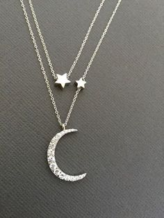 Crescent moon necklace silver - Silver Celestial Jewelry Constellation Necklace , Vermeil Mother daughter, Love You To The Moon, Star and Crescent Moon Necklace, – Crescent moon necklace silver Silver Necklaces, Silver Jewelry, Jewelry Necklaces, 925 Silver, Sterling Silver, Silver Ring, Gold Jewellery, Silver Earrings, Diamond Necklaces