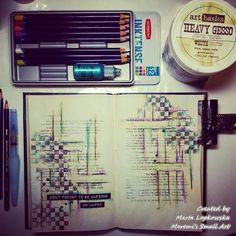 Marta Lapkowska: Mixed media journal pages by night + VIDEO tutoria...