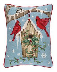 """Copy of Designer Kate Birdhouse Cardinal Needlepoint Wool Pillow - 14"""" x 18"""" Needlepoint Pillows, Wool Pillows, Decorative Throw Pillows, Vintage Pillows, Home Textile, Bird Houses, Accent Pillows, Lumbar Pillow, Handicraft"""